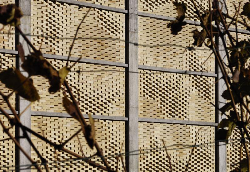 Die Weintrauben, welche im Gebäude aufbewahrt und weiterverarbeitet werden, boten das Motiv für die Fassadengestaltung.