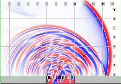 Kurt Heutschi's 2D-Wellensimulation mit Diffusor.