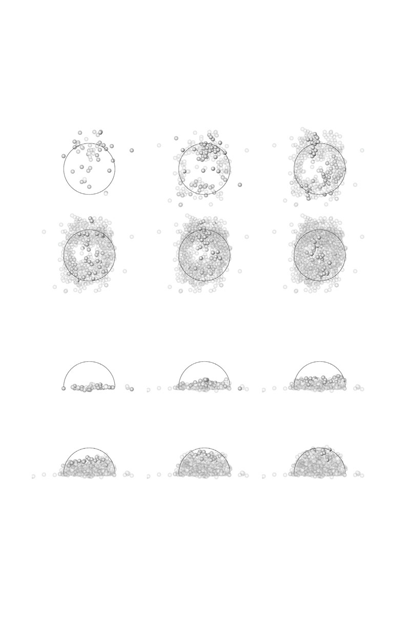 Build-up of the dome - correspondence between the designed and an actually scanned shape