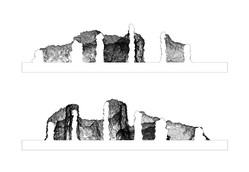 Section through the scanned point-cloud of the final structure