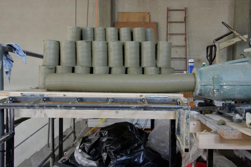 Projektil Produktion - ein Tonzylinder-Extruder
