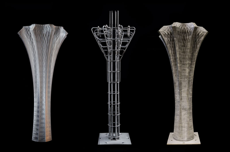 Left: Printed formwork. Middle: Prefabricated reinforcement cage. Right: Final concrete column.