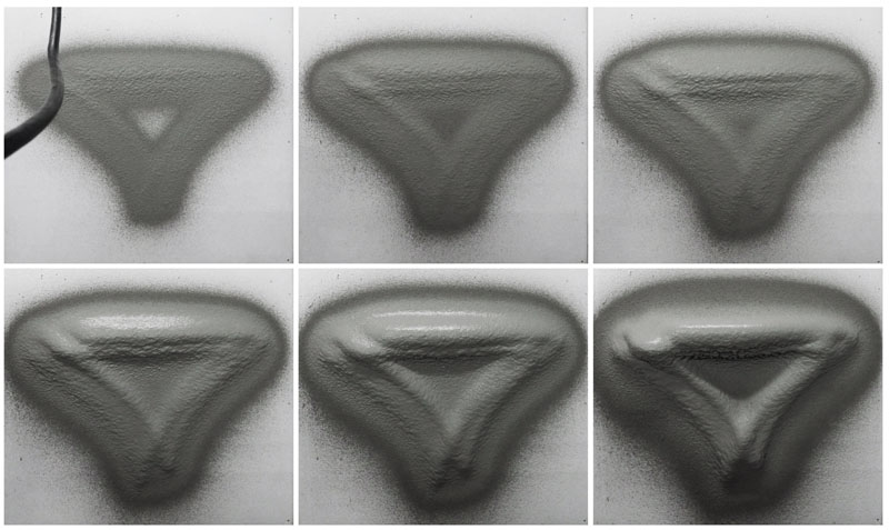 RPS process building up a volumetric formation, with adaptive thin-layer printing on a vertical surface - result of 35 layers, with a final thickness on target surface (overhang) of ~18.5 cm.